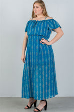 Load image into Gallery viewer, Ladies fashion plus size blue cold shoulder maxi dress - crespo-cynergy