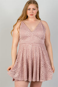 Ladies fashion plus size  blush all floral lace criss cross back plus size mini dress - crespo-cynergy
