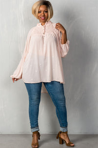 Ladies fashion plus size  long sleeve with elastic cuffs elastic high neckline /u0026 elastic chest detail sheer triangle metallic detail allover high-low hem relaxed fit button up /u0026 self tie closure detail top - crespo-cynergy