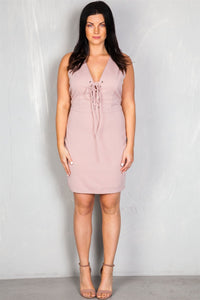 Ladies fashion plus size v neckline front lace up mini dress - crespo-cynergy