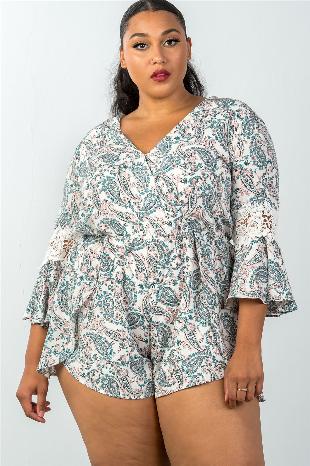 Ladies fashion plus size 3/4 bell sleeves floral crochet sleeves surplice romper - crespo-cynergy