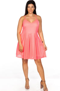 Ladies fashion plus size spaghetti strap pink nude illusion striped midi dress - crespo-cynergy
