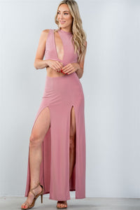Ladies fashion cut out double thigh high slit maxi dress - crespo-cynergy