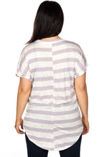 Load image into Gallery viewer, Ladies fashion plus size round neckline striped and destroyed cutout tee - crespo-cynergy