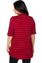 Load image into Gallery viewer, Ladies fashion plus size mock neck choker keyhole stripe asymmetric top - crespo-cynergy