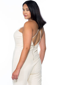 Ladies fashion plus size ivory thin straps v neck x cross back zipper  jumpsuit - crespo-cynergy