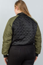 Load image into Gallery viewer, Ladies fashion plus size black /u0026 olive quilted bomber jacket - crespo-cynergy
