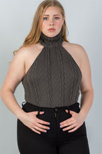 Load image into Gallery viewer, Ladies fashion plus size  cable knit turtleneck sleeveless bodysuit - crespo-cynergy