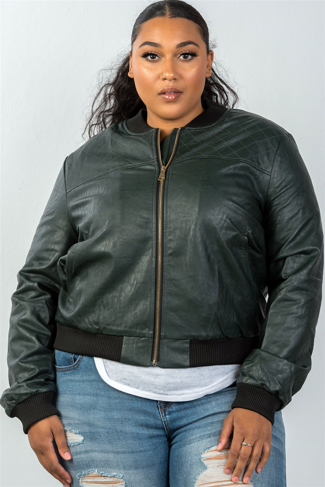 Ladies fashion plus size fully lined peacock pleather bomber jacket - crespo-cynergy
