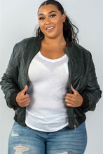 Load image into Gallery viewer, Ladies fashion plus size fully lined peacock pleather bomber jacket - crespo-cynergy