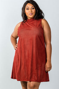 Ladies fashion plus size mini length  rust and nude illusion high neck swing dress - crespo-cynergy