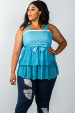 Load image into Gallery viewer, Ladies fashion plus size lace trim blue ruffled babydoll sleeveless top - crespo-cynergy