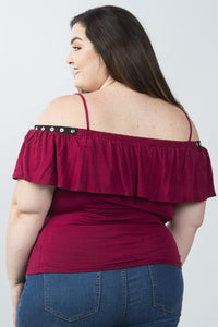 Ladies fashion plus size grommet-detail trim cold shoulder top - crespo-cynergy