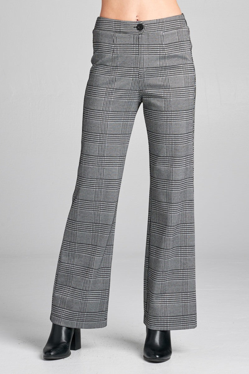 Ladies fashion waist band w/button long wide check pants - crespo-cynergy