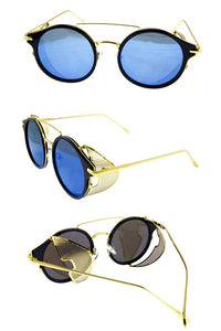 Womens rebar horned sideshield vintage inspired sunglasses - crespo-cynergy