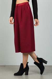 Ladies fashion burgundy pleat detail wide leg culottes - crespo-cynergy
