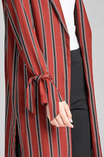 Load image into Gallery viewer, Ladies fashion long sleeve notched collar side slit multi stripe long jacket - crespo-cynergy