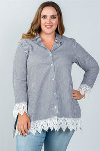 Ladies fashion plus size contrast crochet trim vertical striped top - crespo-cynergy