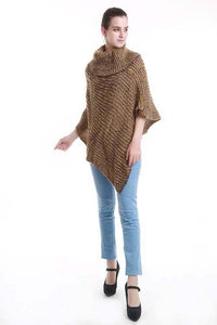 Two-tone turtle neck knit poncho - crespo-cynergy
