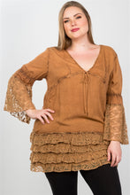Load image into Gallery viewer, Ladies fashion plus size lace hem v neck tunic top - crespo-cynergy