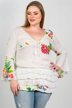 Load image into Gallery viewer, Ladies fashion plus size boho floral mix print lace ruffle hem top - crespo-cynergy