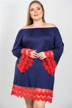 Load image into Gallery viewer, Ladies fashion plus size contrast crochet trim hem dress - crespo-cynergy