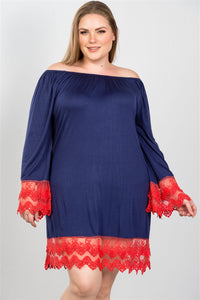 Ladies fashion plus size contrast crochet trim hem dress - crespo-cynergy