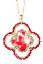 Load image into Gallery viewer, Faceted bead acetate clover pendant necklace set - crespo-cynergy