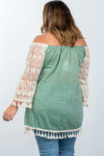 Load image into Gallery viewer, Ladies fashion plus size boho off the shoulder tassel top - crespo-cynergy