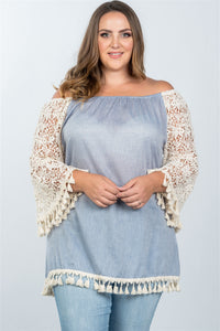 Ladies fashion plus size boho off the shoulder tassel top - crespo-cynergy