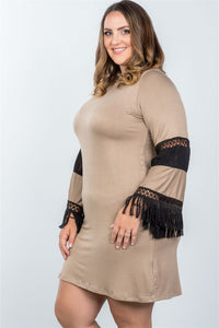 Ladies fashion plus size boho mocha black contrast crochet mini dress - crespo-cynergy