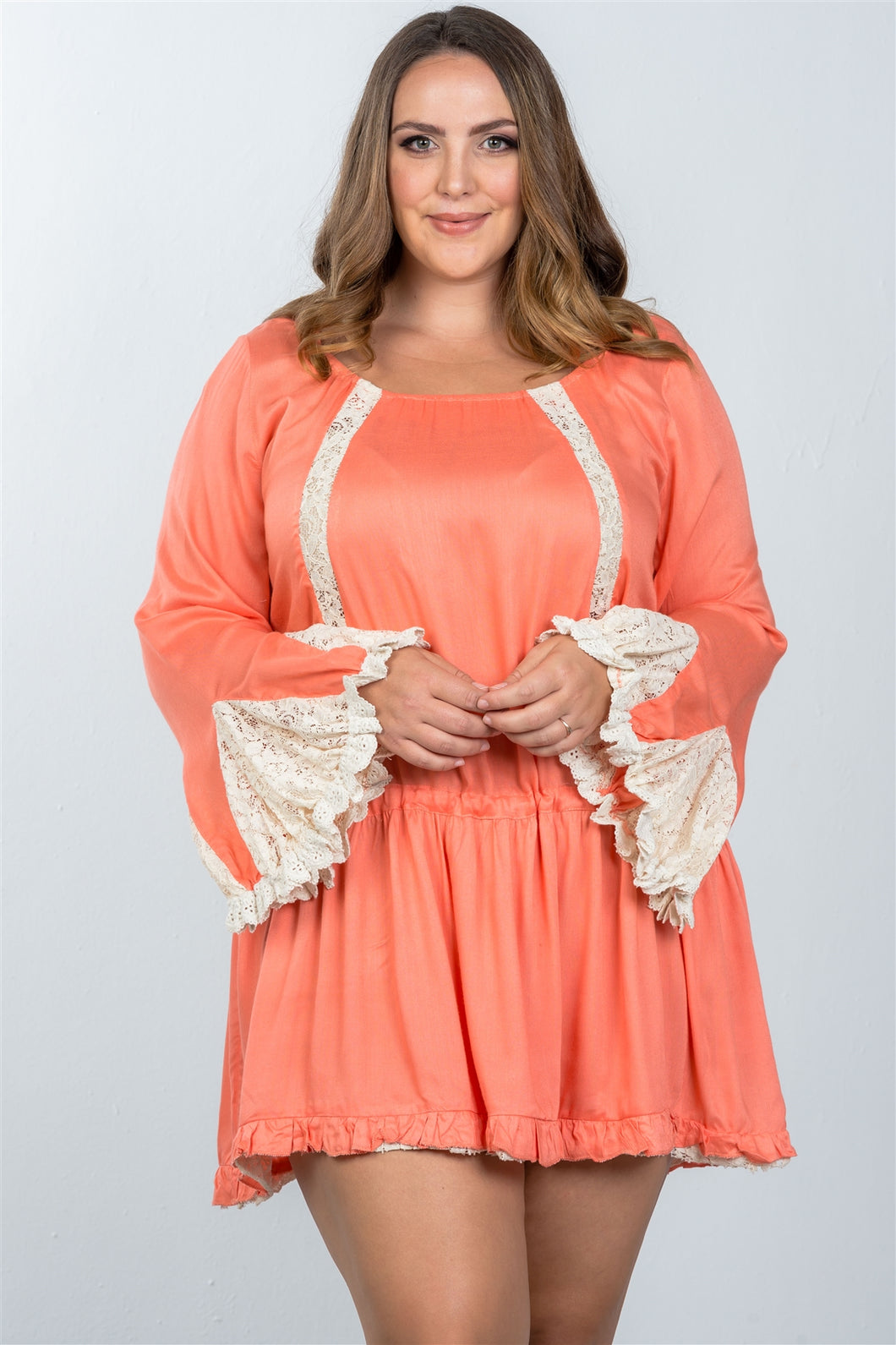 Ladies fashion plus size boho lace trim puff cuff dress - crespo-cynergy