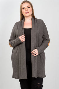 Ladies fashion plus charcoal elbow patch open cardigan - crespo-cynergy
