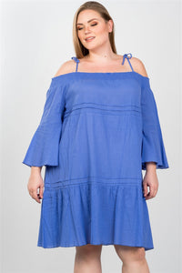 Ladies fashion plus size boho tie-shoulder boho midi dress - crespo-cynergy