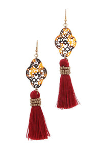 Acetate moroccan shape tassel drop earring - crespo-cynergy
