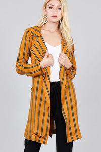 Ladies fashion long sleeve notched collar w/waist belt multi striped long woven jacket - crespo-cynergy