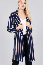Load image into Gallery viewer, Ladies fashion long sleeve notched collar w/waist belt multi striped long woven jacket - crespo-cynergy