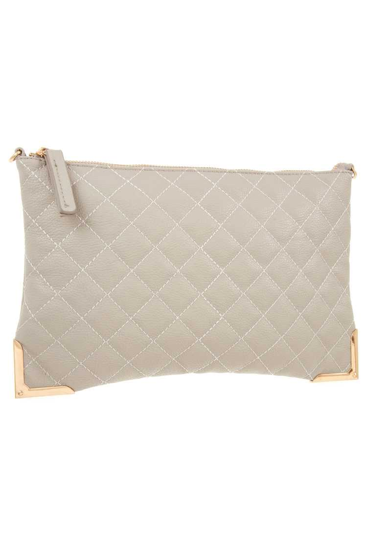 Faux leather quilted detailed clutch bag - crespo-cynergy
