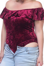 Load image into Gallery viewer, Ladies fashion plus size velvet bodysuit - crespo-cynergy