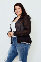 Load image into Gallery viewer, Ladies fashion plus size black sheer mesh zipper front jacket - crespo-cynergy