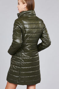 Long sleeve quilted long padding jacket - crespo-cynergy