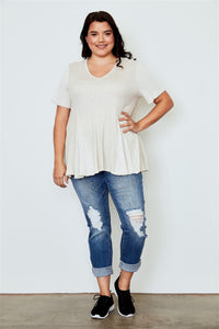 Plus size v neck loose top - crespo-cynergy