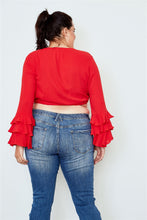 Load image into Gallery viewer, Plus size tiered bell sleeve tie front wrap top - crespo-cynergy