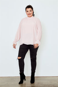Plus size high neck ruffle long sleeve top - crespo-cynergy