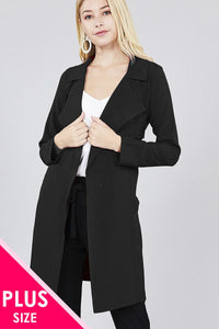 Long sleeve notched collar w/waist belt long jacket - crespo-cynergy