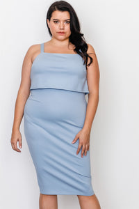 Plus size chambray flounce layered midi dress - crespo-cynergy