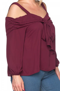 Front bow cold shoulder shirts - crespo-cynergy