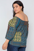 Load image into Gallery viewer, Plus size off-the-shoulder multi print top - crespo-cynergy