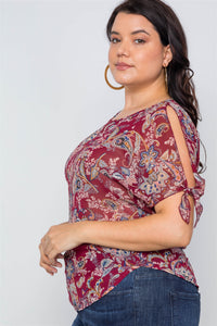 Plus size multi self tie sleeves floral chiffon top - crespo-cynergy