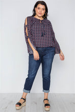 Load image into Gallery viewer, Plus size navy multi print slit self tie sleeves top - crespo-cynergy